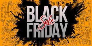 Bannière noire de jaune de vente de vendredi avec des griffonnages illustration libre de droits