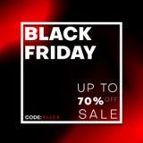 Bannière noire de remise de vente de vendredi avec le cadre blanc et la forme liquide rouge illustration libre de droits
