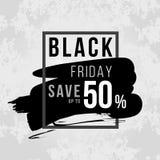 Bannière noire de vendredi avec des économies noires de vendredi jusqu'à 50% sur la conception de vecteur à l'encre noire et de b Image stock