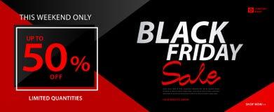 Bannière noire de vente de vendredi, annonces, bannière début, bon de cadeau, carte de remise, affiche de promotion, publicité, v illustration stock