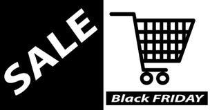 Bannière noire de vente de vendredi, illustration de vecteur de calibre de conception de disposition d'affiche illustration stock