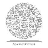 Bannière noire et blanche de thème marin Les pictogrammes des poissons, de la coquille, du crabe, du requin, du dauphin, de la to illustration de vecteur