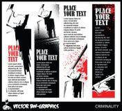 Bannière noire et blanche de vecteur Hache du bourreau Image libre de droits