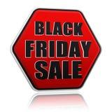 Bannière noire rouge d'hexagone de vente noire de vendredi Photographie stock libre de droits