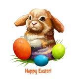 Bannière numérique heureuse de Pâques avec le lapin dans le style de bande dessinée avec l'oeuf décoré Design de carte drôle de s Photographie stock