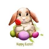 Bannière numérique heureuse de Pâques avec le lapin dans le style de bande dessinée avec l'oeuf décoré Design de carte drôle de s Images libres de droits