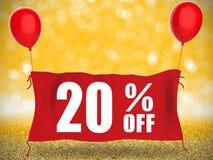 bannière 20%off sur le tissu rouge Photographie stock