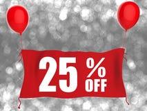 bannière 25%off sur le tissu rouge Photo stock
