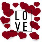 Bannière ou affiche d'amour avec des coeurs Photographie stock