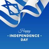 Bannière ou affiche de célébration de Jour de la Déclaration d'Indépendance de l'Israël Indicateur de ondulation Illustration de  illustration de vecteur