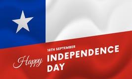 Bannière ou affiche de célébration de Jour de la Déclaration d'Indépendance du Chili Indicateur de ondulation Vecteur Image stock