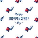 Bannière ou affiche de célébration de Jour de la Déclaration d'Indépendance du Cuba Modèle sans couture avec le drapeau de ondula illustration stock