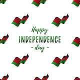 Bannière ou affiche de célébration de Jour de la Déclaration d'Indépendance du Malawi Modèle sans couture avec le drapeau de ondu illustration stock