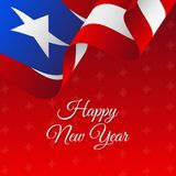 Bannière ou affiche de Puerto Rico Happy New Year Beau fond de Noël Photographie stock libre de droits