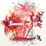 Bannière ou affiche tropicale de vacances avec les paumes et les grunges roses illustration stock