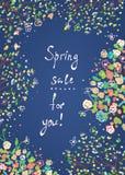 Bannière ou carte de vente de ressort avec des fleurs Photographie stock
