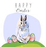 Bannière ou copie avec le texte tiré par la main mignon et lapin de vente de Pâques dans le vecteur Affiche inspirée Ressort à la illustration de vecteur