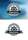 Bannière ou emblème héraldique de constructeurs de navires Images libres de droits
