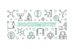 Bannière ou illustration horizontale d'ensemble de vecteur de biochimie illustration libre de droits