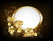 Bannière ovale avec des roses d'or Images libres de droits