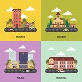 Bannière plate d'icônes du paysage 4 urbains Photos libres de droits