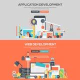 Bannière plate de concept de construction - développement d'applications et Web Image stock