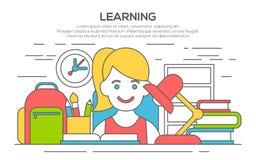 Bannière plate de conception pour l'éducation, apprentissage illustration stock