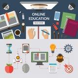 Bannière plate de fond de concept d'éducation en ligne Image stock