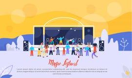 Bannière plate de la publicité de vecteur de festival de musique illustration libre de droits