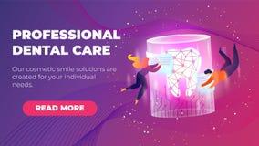 Bannière plate de soins dentaires professionnels d'inscription illustration stock