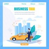 Bannière plate de taxi d'affaires Service jaune de voiture de cabine illustration libre de droits