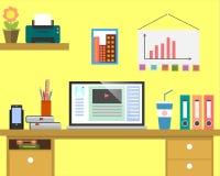 Bannière plate de Web de lieu de travail Espace de travail plat d'illustration d'homme d'affaires de conception, concepts pour de Image stock