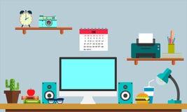 Bannière plate de Web de lieu de travail Espace de travail plat d'illustration de conception, concepts pour des affaires, gestion Photo stock