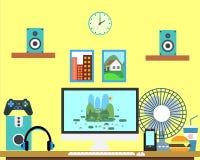 Bannière plate de Web de lieu de travail Espace de travail plat d'illustration de gamer de conception, concepts pour des affaires Photographie stock