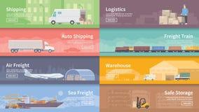Bannière plate de Web de vecteur logistique Photographie stock libre de droits