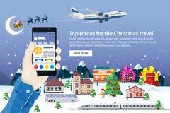 Bannière plate de Web de vecteur sur le thème du voyage Nature, bâtiments, village et ville dans un style plat Photographie stock