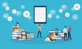 Bannière plate de Web de style de conception pour apprendre en ligne, apps d'éducation, ebooks, cours de formation en ligne, cour illustration stock