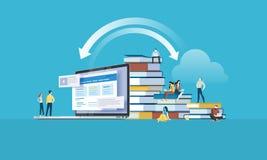 Bannière plate de Web de style de conception pour des apps d'éducation, cours de formation en ligne, formation à distance Photo stock