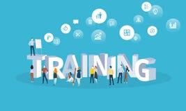 Bannière plate de Web de style de conception pour des cours de formation, formation du personnel, éducation en ligne, spécialisat Images stock