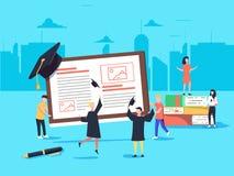 Bannière plate de Web de style de conception pour en ligne l'étude, les apps d'éducation, les cours de formation en ligne d'ebook illustration de vecteur