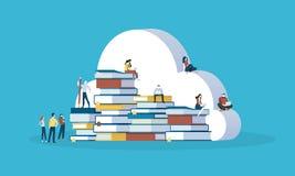 Bannière plate de Web de style de conception pour l'éducation en ligne, base de connaissances, nuage d'éducation, ebooks illustration libre de droits