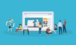 Bannière plate de Web de style de conception pour l'éducation en ligne, les cours visuels, la formation en ligne et les cours Photographie stock libre de droits