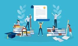 Bannière plate de Web de style de conception pour l'éducation, la connaissance, certificat, cours de formation Images libres de droits