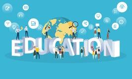 Bannière plate de Web de style de conception pour l'éducation, université pour tous, futures professions illustration de vecteur