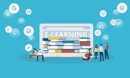 Bannière plate de Web de style de conception pour l'apprentissage en ligne, ebooks, formation à distance, leçons en ligne illustration de vecteur