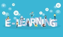 Bannière plate de Web de style de conception pour l'apprentissage en ligne, formation à distance, apprenant en ligne Photo stock