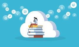 Bannière plate de Web de style de conception pour le nuage d'éducation, la formation à distance et la formation, bibliothèque num illustration de vecteur