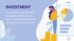 Bannière plate de Web de vecteur d'investissement avec l'espace des textes illustration de vecteur