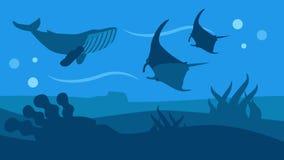 Bannière plate panoramique de style de nature de faune d'océan illustration libre de droits