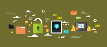 Bannière plate sûre Logo Green de sécurité de données Internet d'ordinateur d'intimité de concept de protection d'argent électron Photo stock